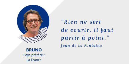 Photo Bruno : Rien ne sert de courir. Il faut partir à point - Jean de La Fontaine