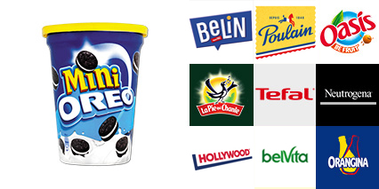 Photo marques : Mini oreo, dim, poulain, oasis, tefal, neutrogena, betiva, hollywood